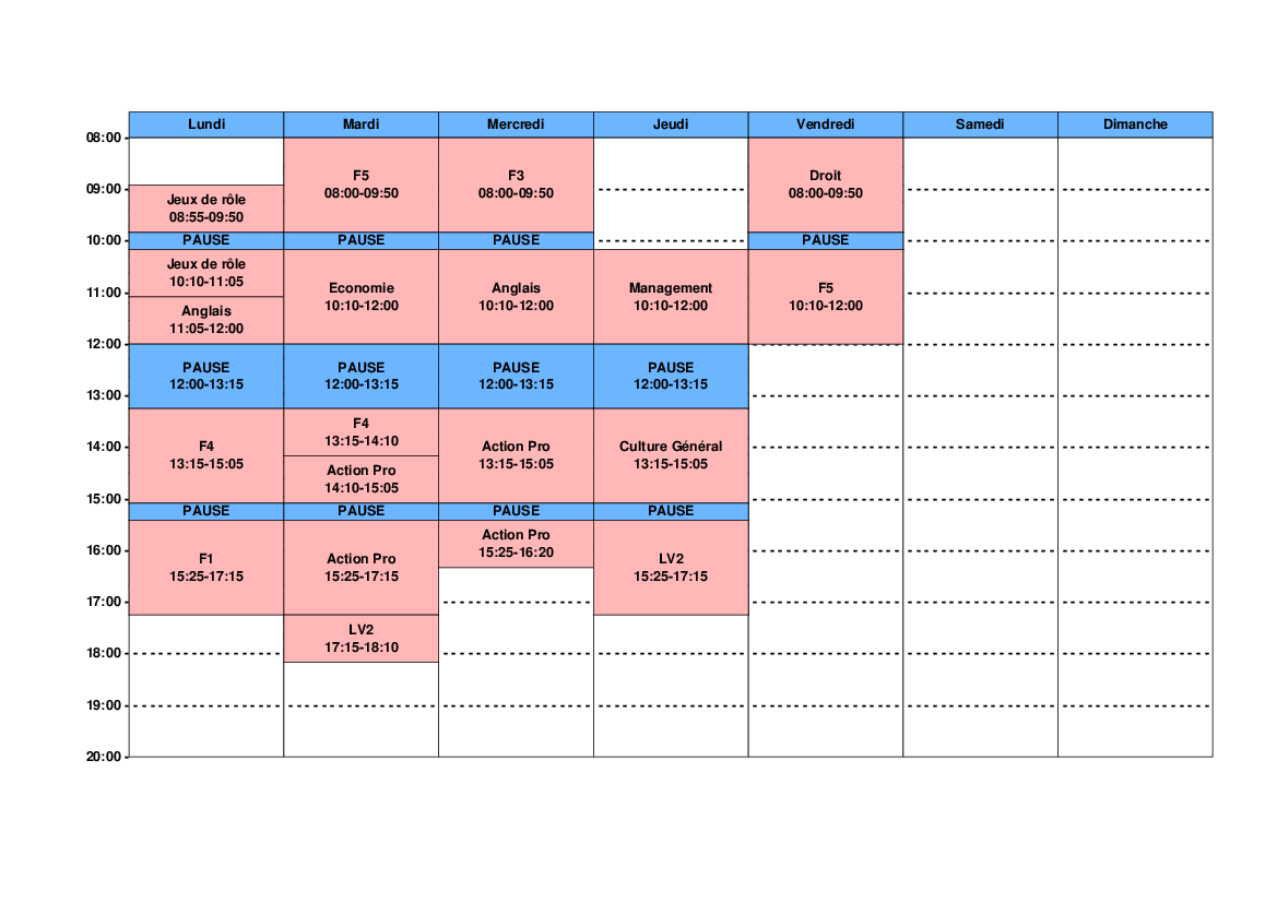 horaires de cours bts am