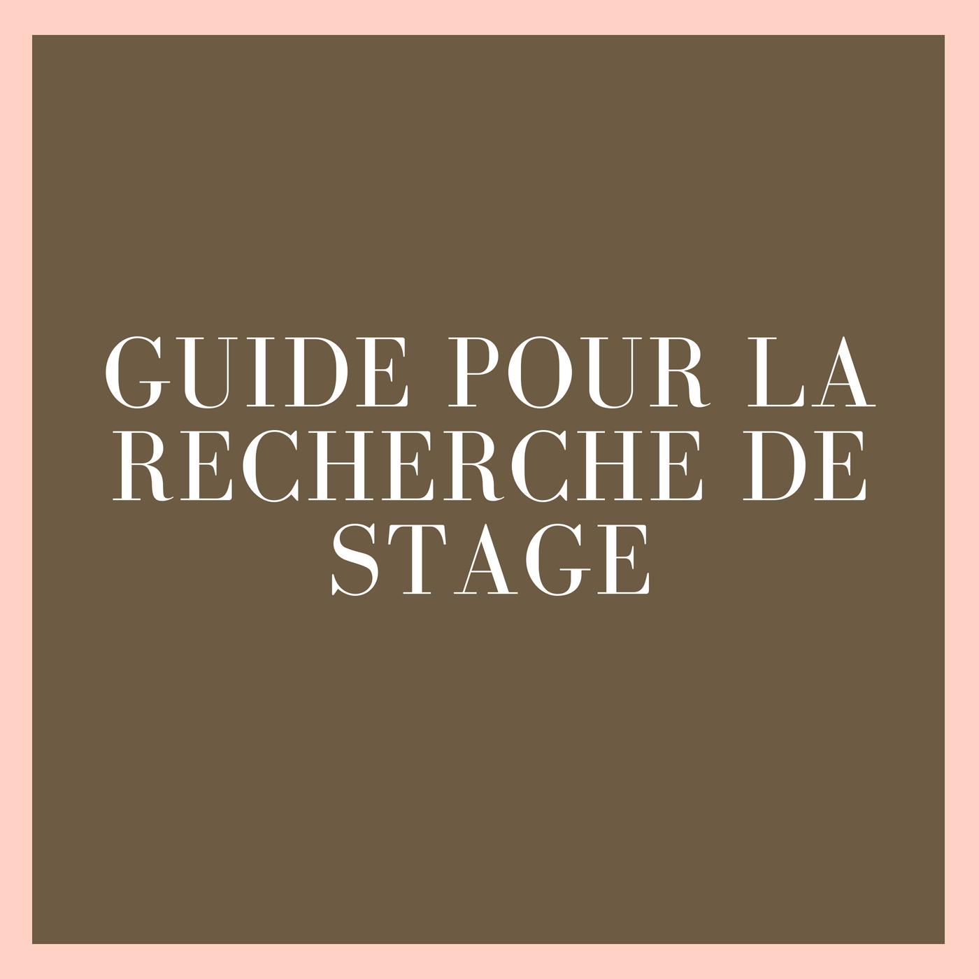 Guide pour la recherche de stage