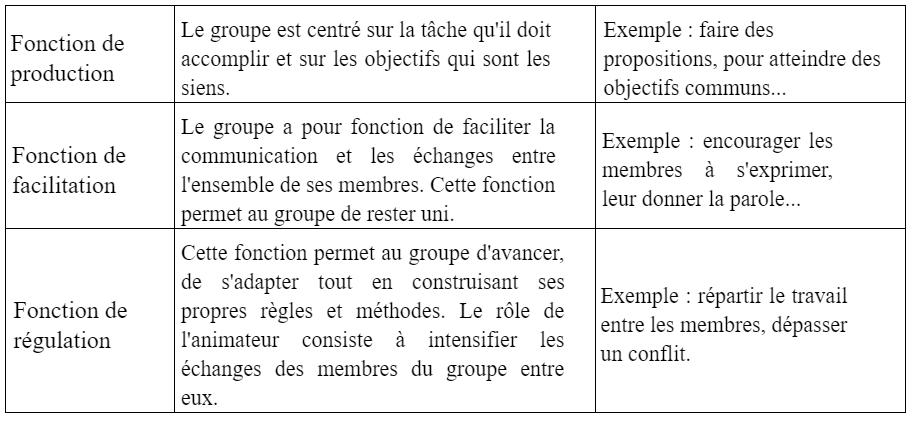 les fonctions des groupes