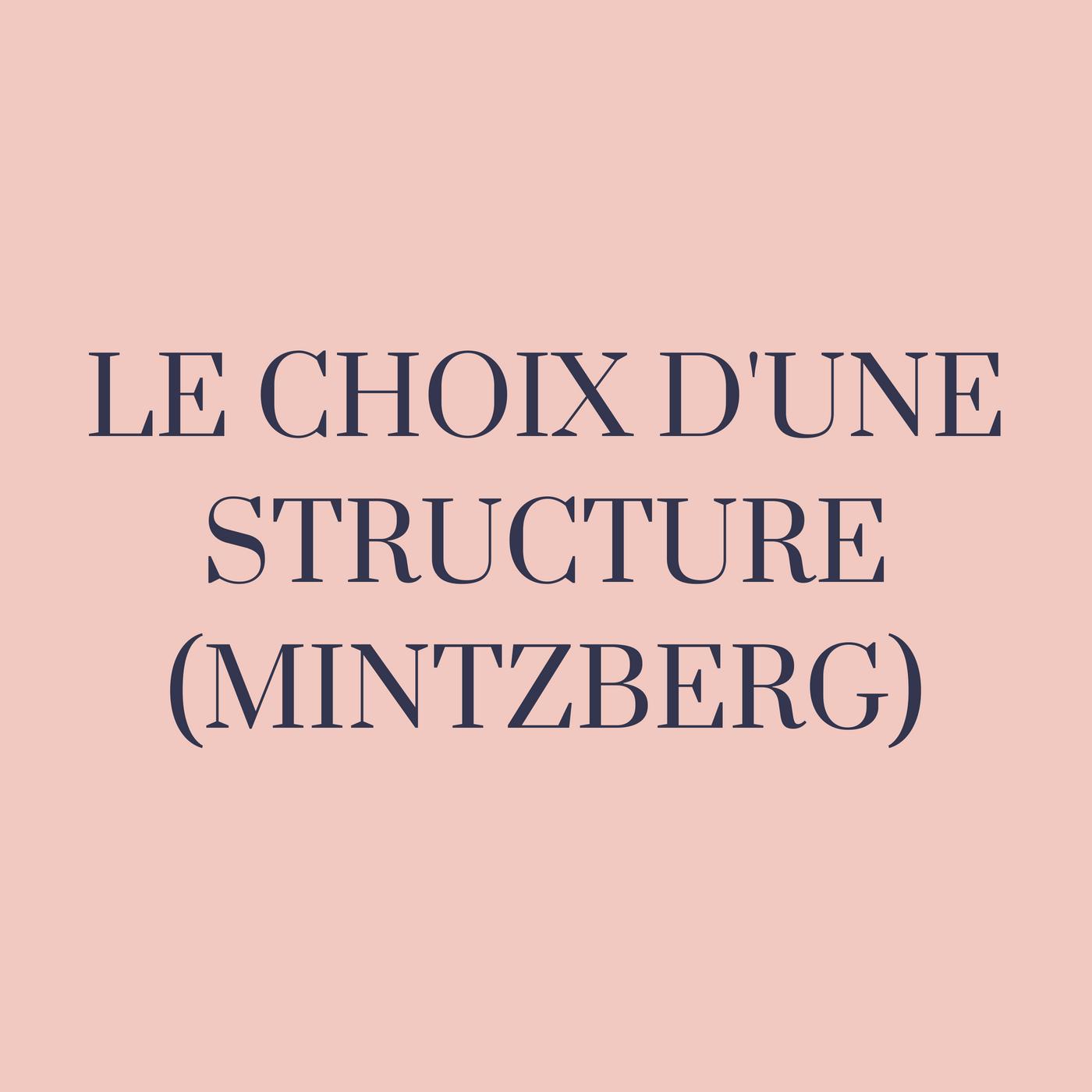 Le choix d'une structure et les principales configurations structurelles